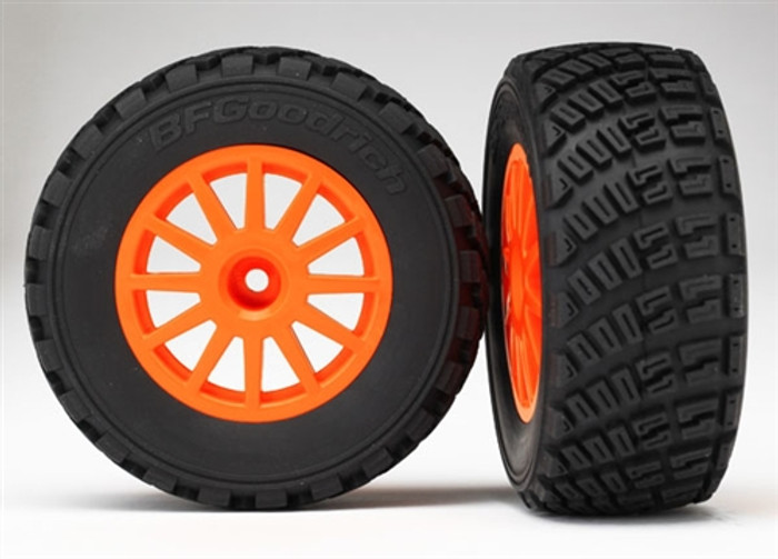 Traxxas BFGoodrich Tires and Orange Wheels Assembled for 1/10 Rally VXL Car, 7473A