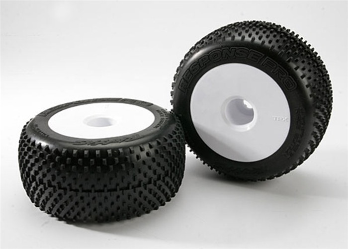 "Traxxas Response Pro Tires White Dished 3.8"" Wheels (assembled, glued, fits E-Maxx/E-Revo/Summit), 5375R"
