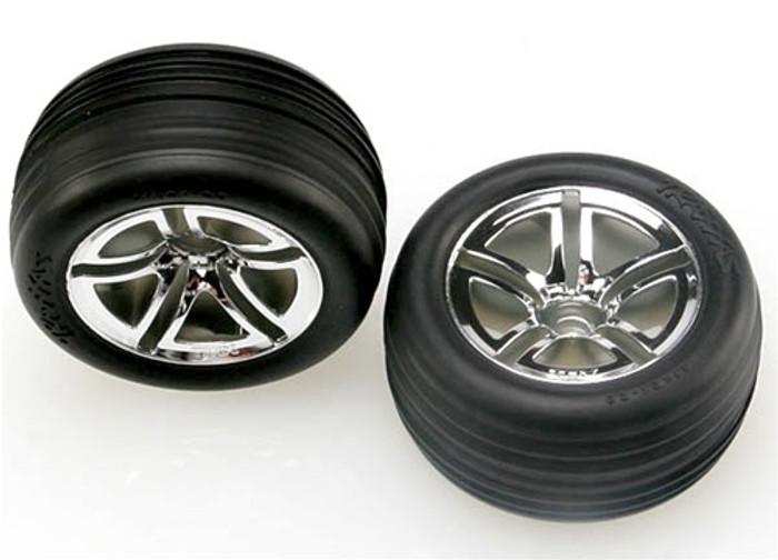 """Traxxas Alias Tires/Twin Spoke 2.8"""" Wheels/Foam Inserts (nitro front), 5574R"""