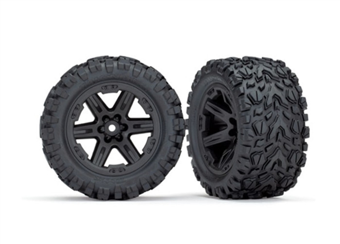 "Traxxas Talon Extreme Tires on 2.8"" RXT Black Wheels for Rustler 4X4, 6773"