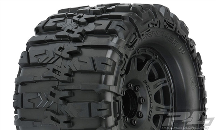 "Pro-Line Trencher HP 3.8"" All Terrain Belted Truck Tires Mounted on Raid Black 8x32 Removable Hex Wheels, 10155-10"
