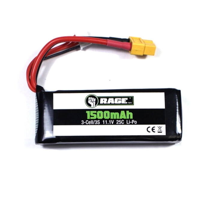 Rage 3S 11.1V 1500mAh 25C Lipo Battery for Defender 1100, A1265