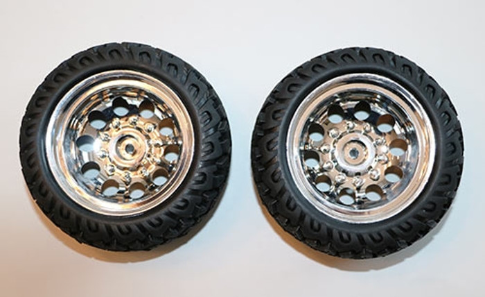DHK Tires with Chrome Wheels (2) for the Raz-R 2 Stadium Truck, 8141-003
