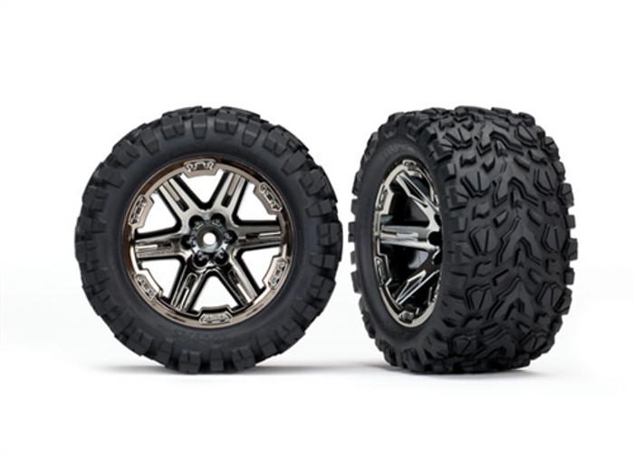 """Traxxas Talon Extreme Tires on 2.8"""" RXT Black Chrome Wheels for Rustler 4X4, 6773X"""