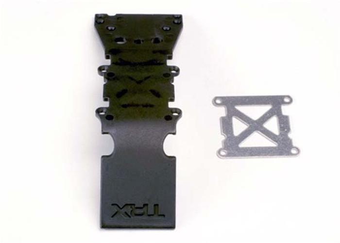 Traxxas Skidplate Front Plastic (black)/Stainless Steel Plate, 4937