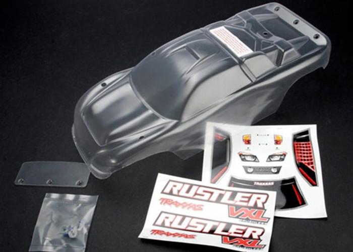 Traxxas Rustler Body (clear) w/Decals, Wing, & Hardware, 3714