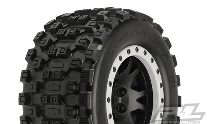 Pro-Line Badlands MX43 Pro-Loc All Terrain Tires Mounted on Impulse Pro-Loc Wheels for X-Maxx, 10131-13
