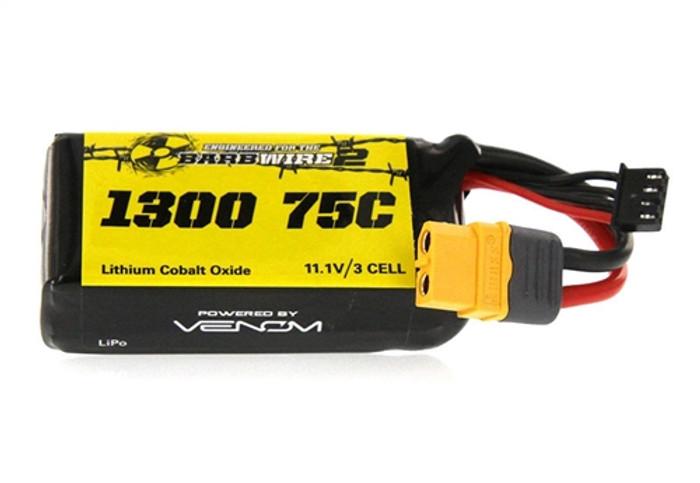 VENOM 75C 1300mAh 11.1V 3-Cell LiPO Battery w/XT60 Plug, 45075
