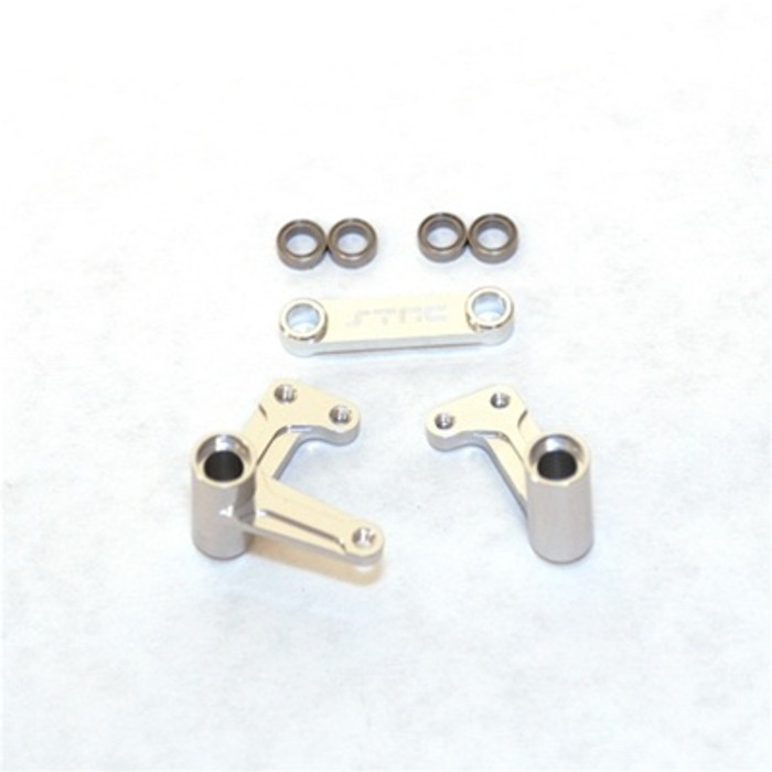 ST Racing Concepts Aluminum Steering Bellcrank Set with Bearings for Slash/Rustler/Bandit (Silver), 3743XS