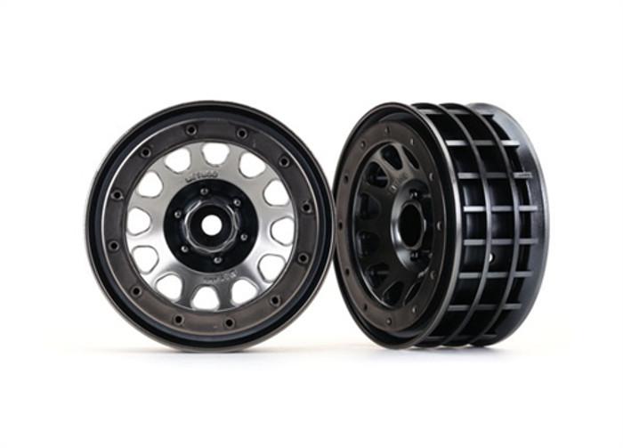 "Traxxas Method 105 2.2"" Black Chrome Beadlock Wheels for TRX-4, 8171"