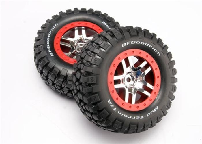 Traxxas Chrome Wheels/Mud Terrain Tires Assembled Slash 4x4, 6873A