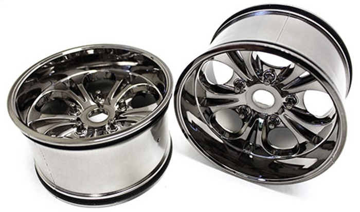 "CEN Racing 7.5"" 23mm Hex Gunmetal Chrome Wheels for Colossus XT, GS287A"
