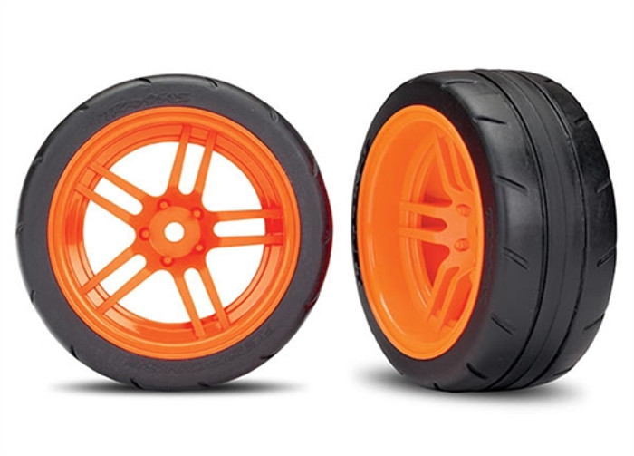 Traxxas Response Tires on SS Orange Wheels (extra wide rear) for Ford GT & 4-Tec 2.0, 8374A