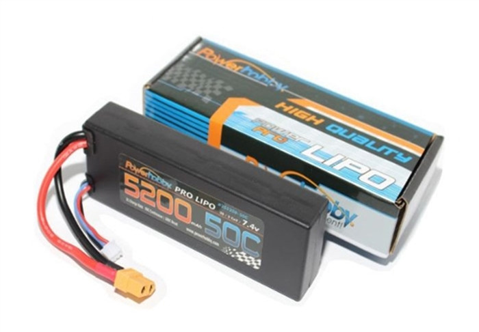 Power Hobby 7.4V 5200mAh 50C LiPo Battery w/XT60 Connector and Traxxas HC Adapter, 2S520050CXT60T
