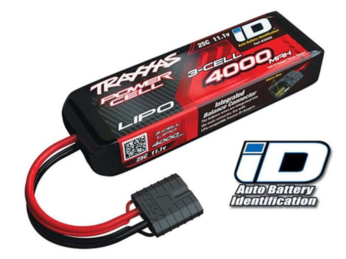 Traxxas 4000mAh 11.1V 25C Power Cell LiPo Battery w/iD Connector, 2849X