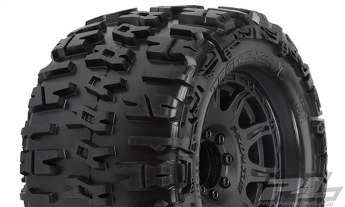 "Pro-Line Trencher X 3.8"" All Terrain Monster Truck Tires Mounted on Raid Black 8x32 Removable Hex 17mm Wheels, 1184-10"