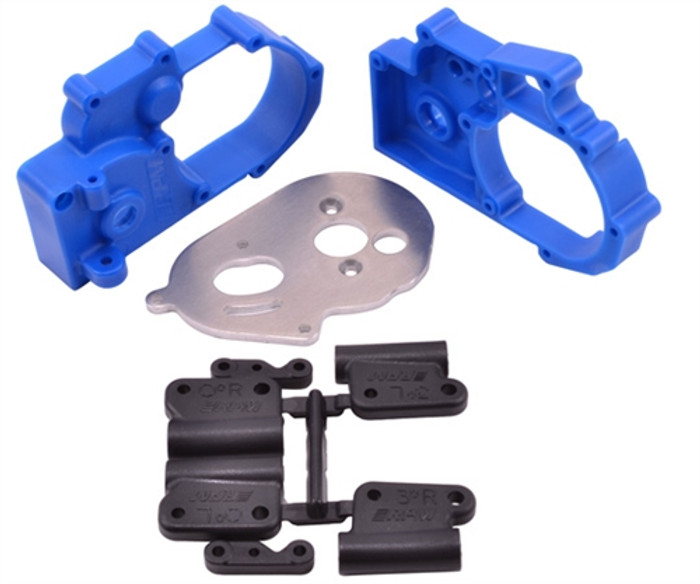 RPM Gearbox Housing and Rear Mounts for Traxxas Electric Slash/Stampede/Rustler/Bandit 2WD - Blue, 73615