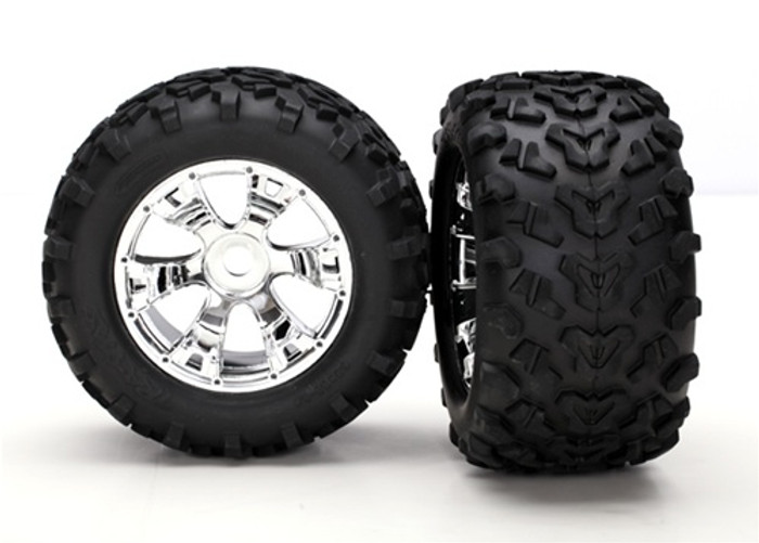 "Traxxas Maxx Tires 6.3"" Geode Chrome Wheels (assembled, glued, fits E-Maxx Brushless) (17mm Hex), 5674"