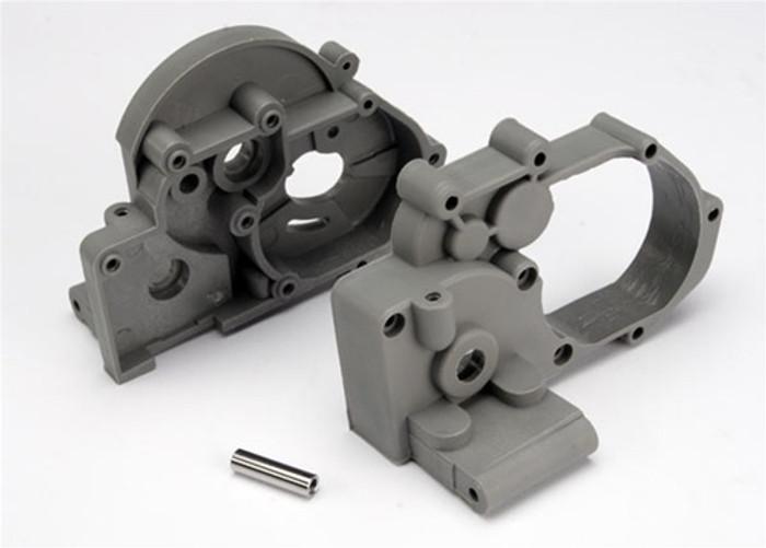 Traxxas Gearbox halves (l&r) (gray) w/ idler gear shaft, 3691A