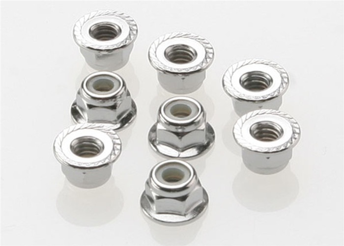 Traxxas Nuts, 4mm flanged nylon locking (steel, serrated) (8), 3647
