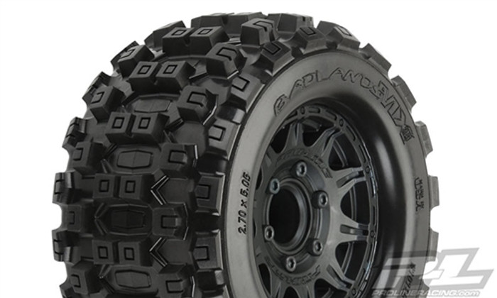"Pro-Line Badlands MX28 2.8"" All Terrain Tires Mounted on Raid Black 6X30 Removable Hex Wheels, 10125-10"