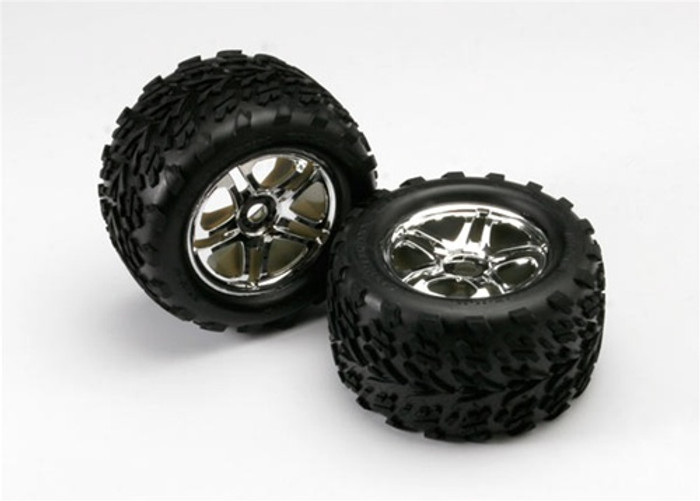 """Traxxas Talon Tires/Split Spoke Satin 3.8"""" Wheels/Foam Inserts (for Revo 3.3 w/17mm hubs), 5174R"""