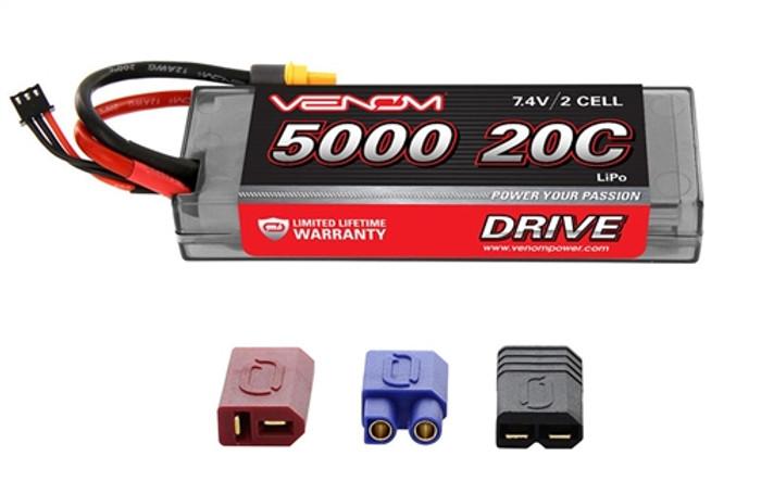 Venom 20C 5000mAh 7.4V RC LiPo Car Battery - UNI Plug 2, 1555
