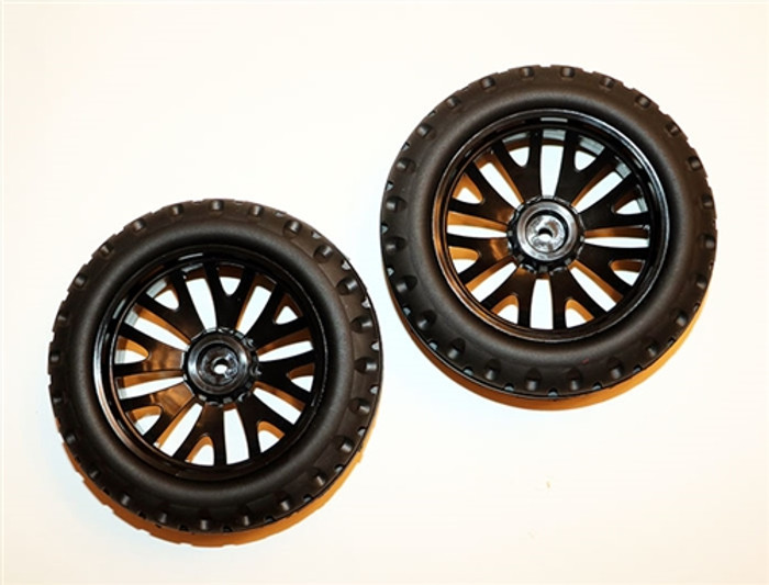 DHK Front Tires on Black Wheels for the Cage-R Buggy, 8142-802