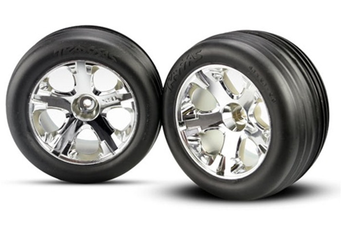 Traxxas Ribbed Tires Mounted on All-Star Wheels (electric front), 3771