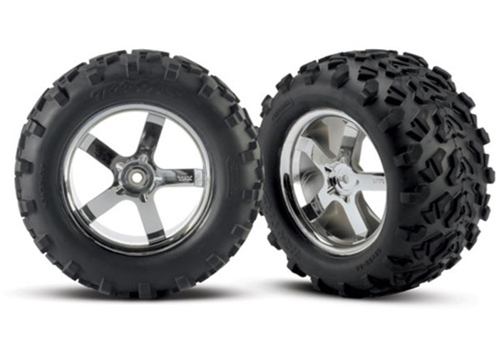 "Traxxas Maxx Tires 6.3"" Hurricane Chrome Wheels 3.8"" (assembled, glued, fits Maxx/Revo/Summit), 4973R"