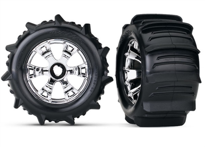 Traxxas Paddle Tires on Geode Chrome Wheels (17mm hex), 5672