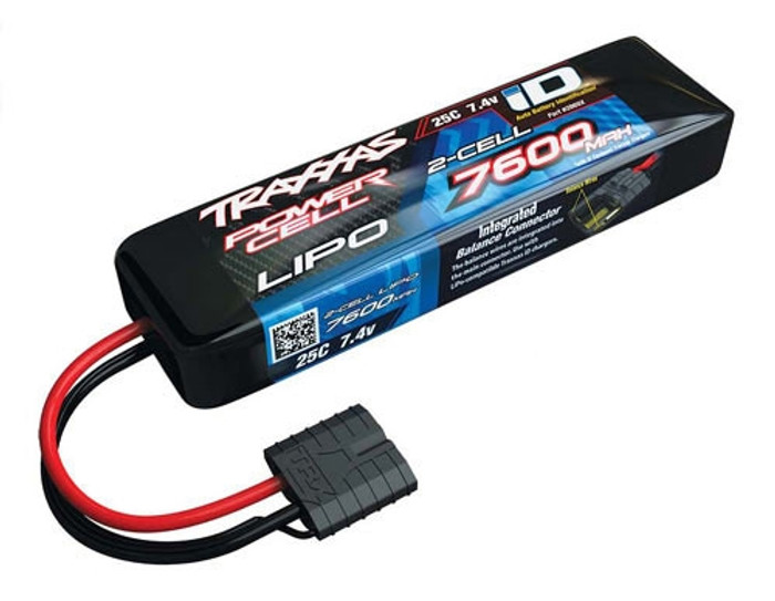 Traxxas 7600mAh 7.4V 25C Power Cell LiPo Battery w/iD Connector, 2869X