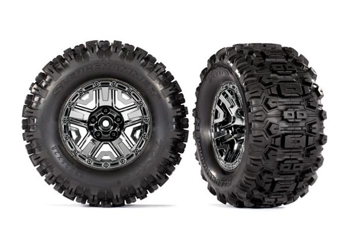 """Traxxas Sledgehammer Tires Assembled on 2.8"""" Black Chrome Wheels for Hoss 4x4 VXL, 9072"""