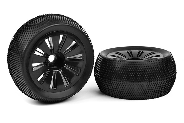 Team Corally Off-Road 1/8 Monster Truggy Tires Glued on Black Rims, C-00180-386