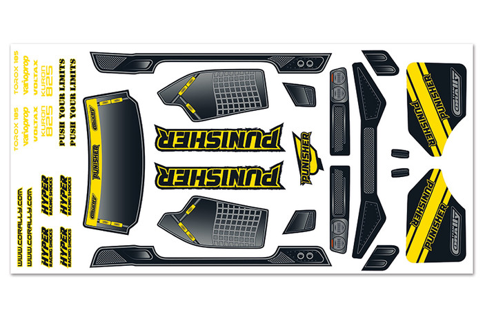 Team Corally Body Decal Sheet for Punisher XP 6S, C-00180-388-1
