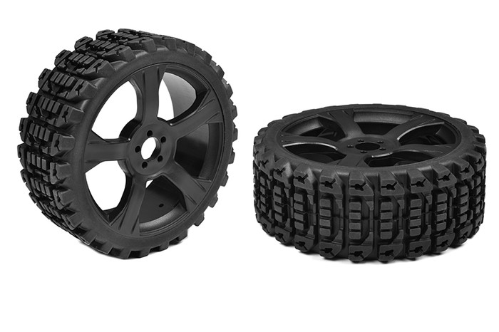 Team Corally 1/8 Off-Road Low-Profile Xprit Buggy Tires on Black Rims, C-00180-611