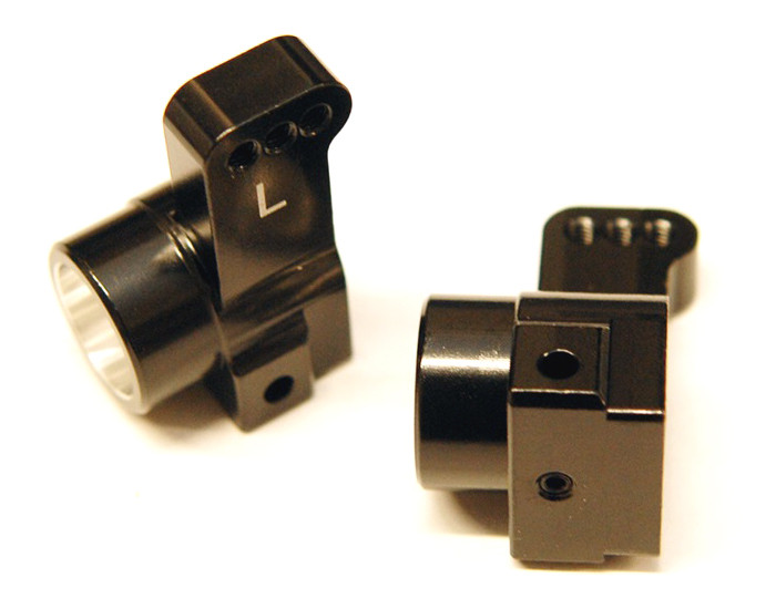 ST Racing CNC Machined Aluminum Rear Hub Carriers, 0 Deg Toe-In for DR10 - Black, 91418-T0BK