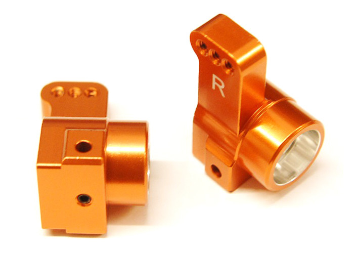 ST Racing CNC Machined Aluminum Rear Hub Carriers, 0 Deg Toe-In for DR10 - Orange, 91418-T0O