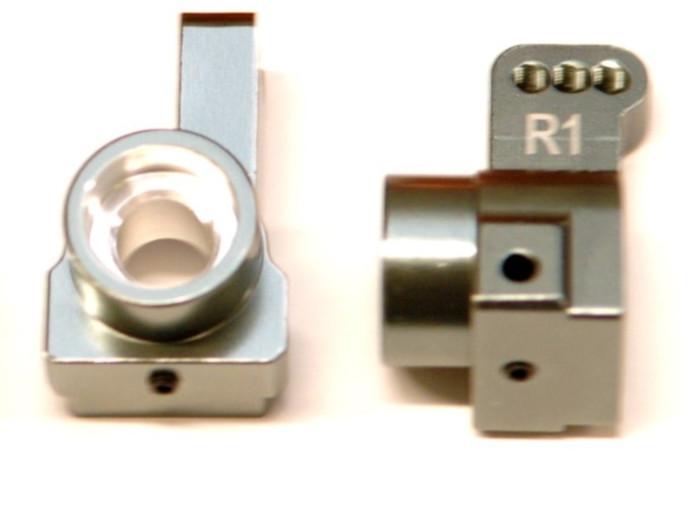 ST Racing CNC Machined Aluminum Rear Hub Carriers, 1 Deg Toe-In for DR10 - Gun Metal, 91418-T1GM