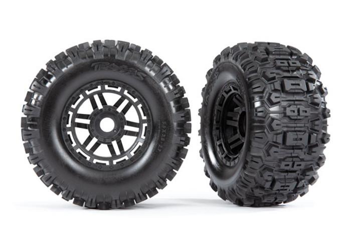 Traxxas Sledgehammer Tires on Black Wheels for Maxx 4S Truck, 8973