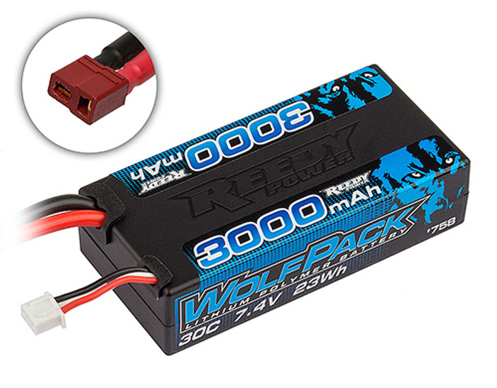 Reedy WolfPack 3000mAh 7.4V 30C Shorty LiPo with T-plug, 758