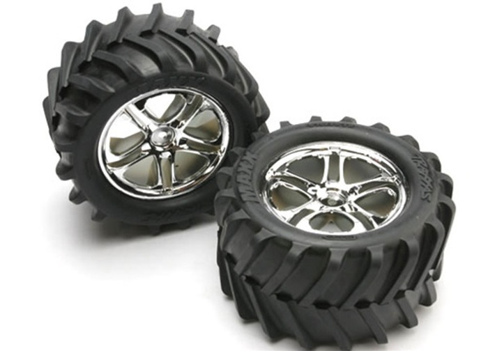 Traxxas Maxx Tires/Split Spoke Chrome Wheels/Foam Inserts (assembled, glued, also fits Revo series), 5173