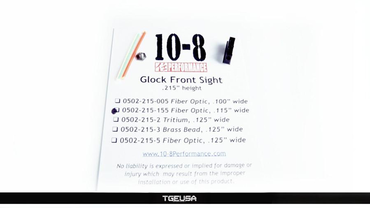 10-8 Performance Glock Front Sight - Fiber Optic  (.215 Height / .115 Wide)
