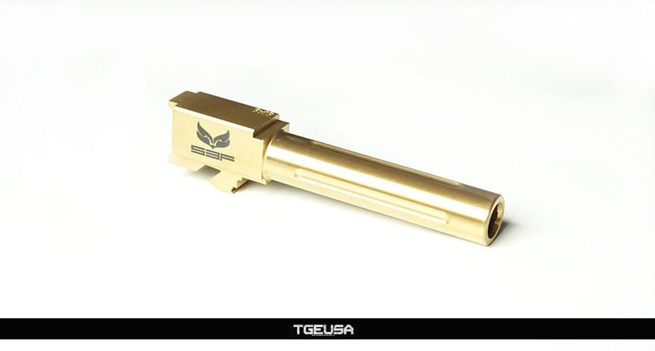 S3FSolutions Glock 19 Match Grade Barrel - Ti Nitride (GOLD) Fluted