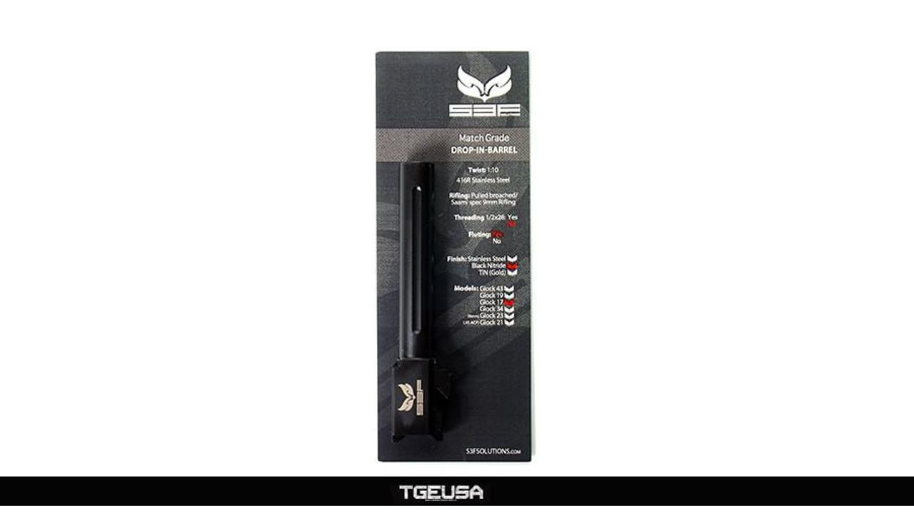 S3FSolutions Glock 17 Match Grade Barrel - Black Nitride / FLUTED