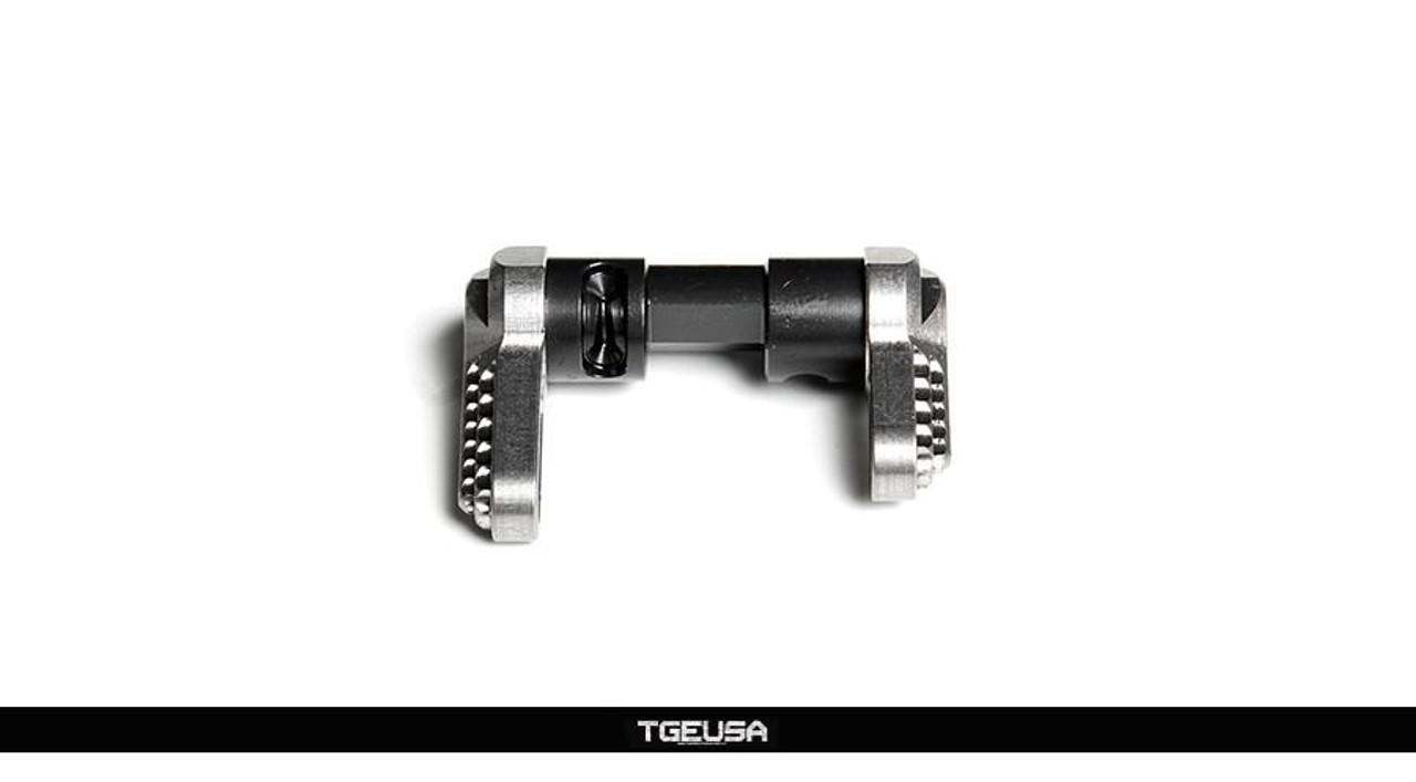 V SEVEN Raw Titanium Ambi Selector - AR15 / AR10 (57° & 90° Throw)
