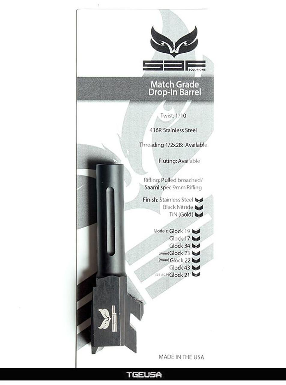 S3FSolutions Glock 43 Match Grade Barrel - Black Nitride / Fluted