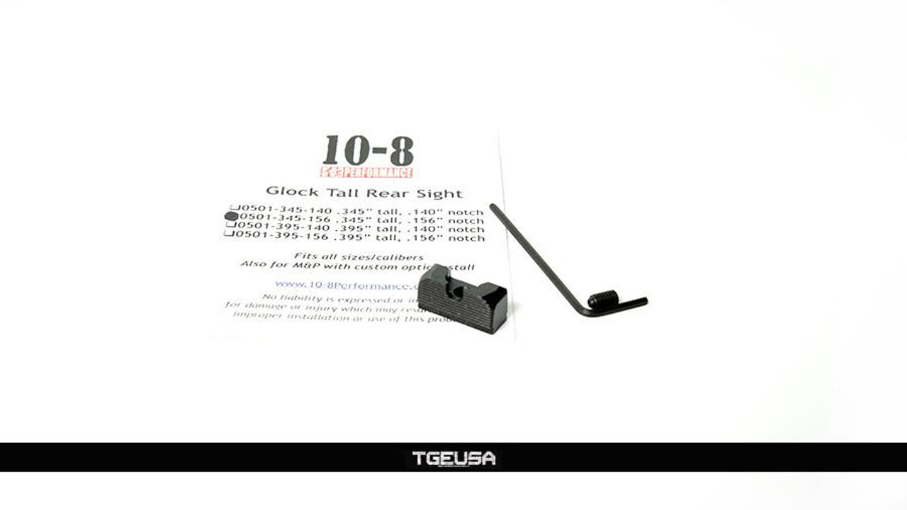 10-8 Performance Glock Tall Rear Sight - (.345 Tall / .156 Width U-Notch)