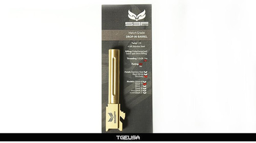 S3FSolutions Glock 19 Match Grade Barrel - Ti Nitride (GOLD) Fluted