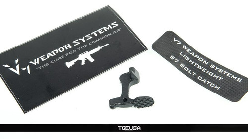 V SEVEN Ultra Light S7 Bolt Catch - AR15 / Ion Bond Black
